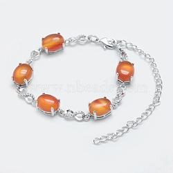 """Bracelets chaîne maillons naturels cornaline, avec les accessoires en laiton, Platine plaqué réel, ovale et infini, 5-3/4""""~6"""" (14.5~15 cm)(BJEW-G595-A09)"""