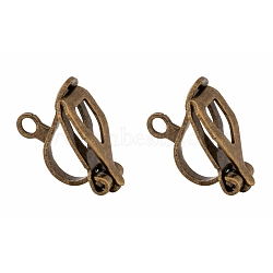 Brass Clip-on Earring Findings, for non-pierced ears, Antique Bronze Color, Nickel Free, about 6mm wide, 13mm long; 7mm thick; hole: 1mm(X-EC109-NFAB)