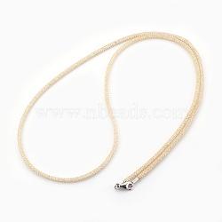 """Colliers à mailles en laiton, avec des perles de verre à l'intérieur, clair, or, 25.6~26"""" (65~66 cm)(NJEW-F241-01G-B)"""