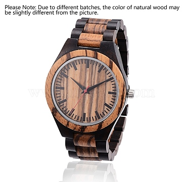 Ebony & Zebrano Wood Wristwatches, Men Electronic Watch, with Alloy Findings, Colorful, 70mm; Watch Head: 54x48x12mm; Watch Face: 37mm(WACH-H036-54)