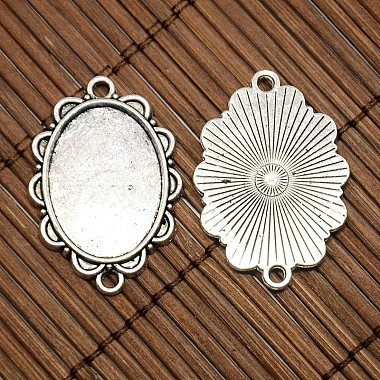 25x18mm Oval Dome Clear Glass Cover and Antique Silver Alloy Cabochon Connector Settings Sets(DIY-X0082-AS-NF)-4