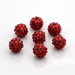 Бусины со стразами из смолы, круглые, красные, 14x12 мм, отверстие : 2 мм(RESI-S260-14mm-S3)