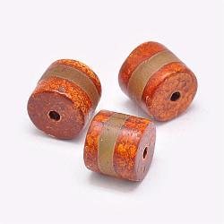 Perles de style tibétain, Perles d'agate naturelles, teints et chauffée, colonne, corail, 11~15x14~16mm, Trou: 2.5~3mm(TDZI-G009-B26)