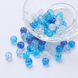 Perles de verre craquelé peintes, carribean bleu mix, rond, couleur mixte, 8~8.5x7.5~8mm, trou: 1 mm; environ 100 PCs / sachet (DGLA-X0006-8mm-11)