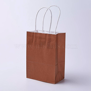 kraft Paper Bags, with Handles, Gift Bags, Shopping Bags, Rectangle, Saddle Brown, 27x21x10cm(CARB-E002-M-Z01)