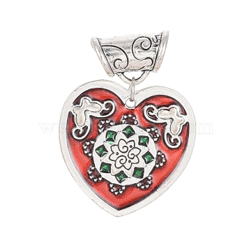Alloy Enamel European Dangle Beads, Heart with Flower and Butterfly, Antique Silver, Red, 40.5mm, Hole: 6mm(MPDL-D022-C01-AS)