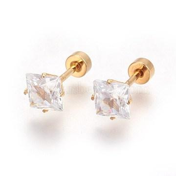 304 Stainless Steel Ear Fake Plugs, Ear Studs, with Rhinestone, Rhombus, Crystal, Golden, 13mm; Rhombus: 8x8x5mm; Pin: 1mm(STAS-I113-24G)