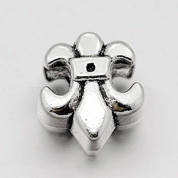 Alloy Fleur-de-lis Large Hole European Beads, Antique Silver, 13x11.5x7.5mm, Hole: 4.5mm(X-MPDL-M040-18AS)