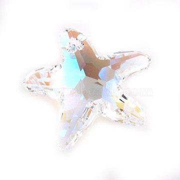 Austrian Crystal Pendants, Starfish/Sea Stars, Crystal Aurore Boreale, 16mm wide (X-6721-16MM-001AB)