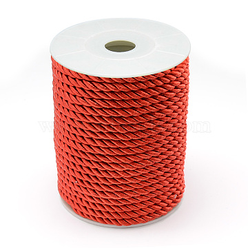 Nylon Thread, 3-Ply, Red, 5mm, about 20yards/roll(18.28m/roll)(NWIR-T001-D11)