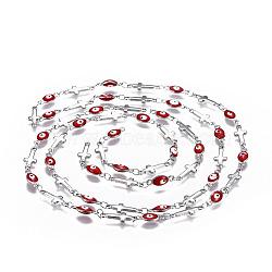 304 chaînes en acier inoxydable émaillé, soudé, mauvais oeil croisé et ovale, couleur inoxydable, rouge, 13.5x5x1mm(CHS-P006-03P-03)