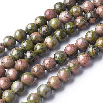 Gemstone Beads Strands, Natural Unakite Beads, Round, about 6mm in diameter, hole: about 0.8mm, 15~16 inches(GSR6mmC043)