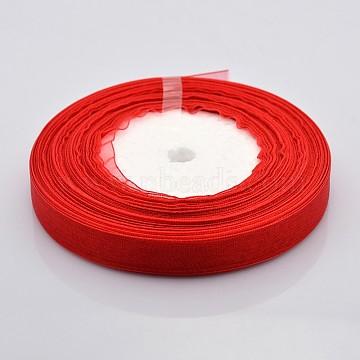 Sheer Organza Ribbon, DIY Material for Ribbon, Crimson, 1/2 inch(12mm), 50yards/roll(45.72m/roll)(X-RS12mmY026)