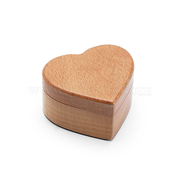 Portable Wooden Ring Boxes, with Sponge Lining, Engagement Ring Case, Heart, BurlyWood, 5.5x6x3.24cm(X-OBOX-WH0004-12B)
