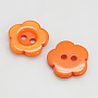 Resin Buttons, Dyed, Flower, DarkOrange, 11x2.4mm, Hole: 1.6~1.8mm; about 1000pcs/bag