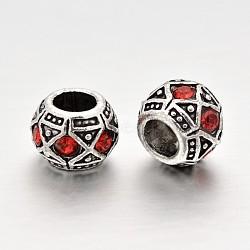 Perles européennes en alliage plaqué argent antique avec strass, perles de rondelle avec grand trou , light siam, 10x8mm, Trou: 5mm(CPDL-J031-21AS)