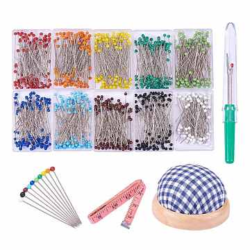 PandaHall Elite Sewing Tools, Stainless Steel Pins, with Plastic Handle Iron Seam Rippers, Tape Measure and Cloth Needle Pin Cushions, 61mm(DIY-PH0018-65)