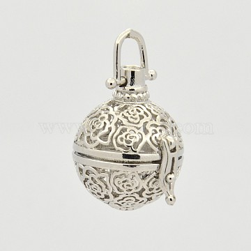 Brass Hollow Cage Pendants, For Chime Ball Pendant Necklace Making, Lead Free & Cadmium Free, Round with Flower, Platinum, 33mm; 27x25x21mm, Hole: 6x6mm; Inner Diameter: 16mm(KK-P141-05)