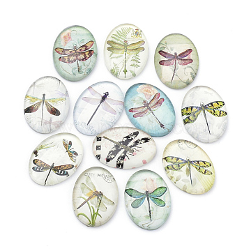 Flatback Glass Cabochons, for DIY Projects, Dragonfly Pattern, Oval, Mixed Color, 25x18x5.5mm(X-GGLA-S034-25x18-007)