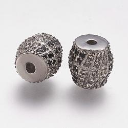 Perles de strass en 304 acier inoxydable, tambour, couleur inoxydable, 10x10mm, Trou: 2mm(STAS-F195-104P)