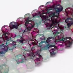 """Chapelets de perles en agate veine de dragon naturelle, rond, teint, colorées, 6mm, trou: 1mm; environ 62~63 pcs/chapelet, 14.5""""(X-G-K155-C-6mm-01)"""