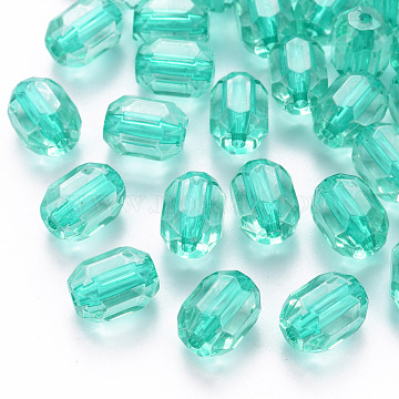 Transparent Acrylic Beads, Oval, Faceted, Turquoise, 14x10x10mm, Hole: 2mm, about 450pcs/500g(TACR-S154-24A-68)