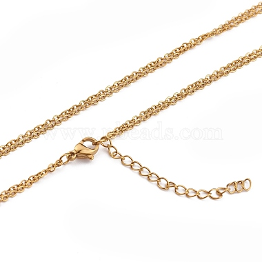 304 Stainless Steel Double Layer Necklaces(NJEW-F280-14)-4