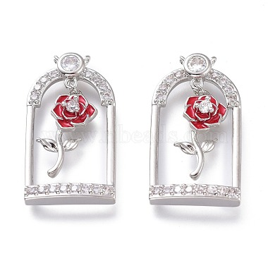 Real Platinum Plated Red Others Brass+Cubic Zirconia+Enamel Pendants