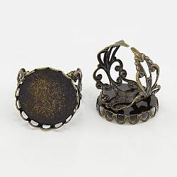 laiton réglable tiges anneau, composants d'anneau en filigrane, des bagues anciennes décisions, arrondir, couleur bronze antique, taille: anneau: environ 18.5 mm de diamètre intérieur; plateau: environ 21 mm de diamètre, 20 diamètre intérieur mm(X-KK-Q011-AB)