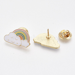 Alloy Brooches, with Enamel, Iron Pins and Brass Butterfly Clutches, Cloud with Rainbow, Light Gold, White, 14.5x24x11~12mm, Pin: 1mm(X-PALLOY-S132-072)