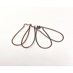 Accessoires de bricolage fil d'oreille de rein créoles en laiton cuivre rouge, sans plomb et sans cadmium, taille:  Largeur environ 14mm, Longueur 33mm, épaisseur de 0.7~0.8mm(X-EC221-R)