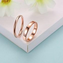 Bagues en argent sterling à la mode, anneaux couple, taille 6, or rose, 16.5mm(RJEW-BB29185-B-6)
