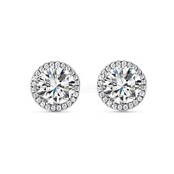 Argent sterling gros diamant rond stud boucles d'oreilles tinysand®, argenterie, 10.6x10.6x8.4mm, pin: 11.36 mm(TS-E343-S)