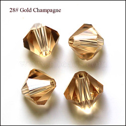 imitation perles de cristal autrichien, AAA grade, facettes, Toupie, verge d'or, 6x6 mm, trou: 0.7~0.9 mm(SWAR-F022-6x6mm-246)