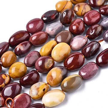 Natural Mookaite Beads Strands, Tumbled Stone, Nuggets, 11~15x6~9mm, Hole: 1mm; about 35pcs/Strand, 15.75 inches~15.94 inches(40~40.5cm)(G-XCP0006-18)