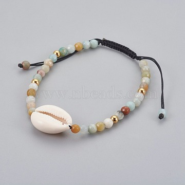 Natural Flower Amazonite Braided Bead Bracelets, with Cowrie Shell, 2 inches~3-1/8 inches(5~8cm)(X-BJEW-JB04079-01)