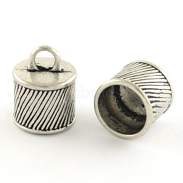 Tibetan Style Alloy Cord Ends, End Caps, Cadmium Free & Lead Free, Antique Silver, 15.5x12mm, Hole: 3.5mm(X-TIBEP-R346-08AS-RS)