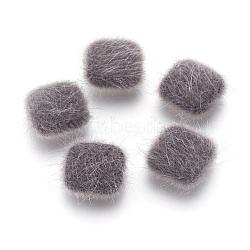 cabochons recouverts de fausse fourrure, avec des conclusions d'alliage plaqué couleur argent, carré, gris, 13x13x5 mm(WOVE-F021-04S-02)
