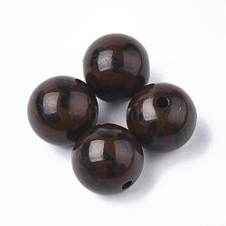 Perles acryliques imprimées, rond, coconutbrown, 11.5~12x11mm, trou: 1.8 mm; environ 520 pcs / 500 g(OACR-S022-15A)