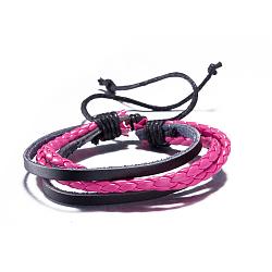 Adjustable Retro Braided Leather Multi-strand Bracelets, DeepPink, 300mm(BJEW-BB16036-E)