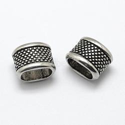 Glissières en alliage de zinc de style tibétain / perles coulissantes, pour la fabrication de bracelets en cuir, sans cadmium et sans plomb, rectangle, argent antique, 11x14x10mm, Trou: 6.5x11mm(PALLOY-K078-09AS-RS)