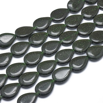 Synthetic Green Goldstone Beads Strands, Teardrop, 18x13x4mm, Hole: 1mm; about 22pcs/strand, 15.3''(39cm)(G-G793-01B-03)