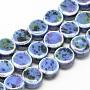 Handmade Porcelain Beads, Fancy Antique Glazed Porcelain, Flat Round, Cornflower Blue, 10~11x5.5~6mm, Hole: 2mm