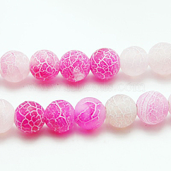 Natural Crackle Agate Beads Strands, Dyed, Round, Grade A, HotPink, 10mm, Hole: 1mm; about 39pcs/strand, 14.9inches