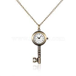 """Alliage clé pendentif montre de poche à quartz, avec des chaînes de fer et fermoirs pince de homard, bronze antique, 31.7""""; cadran montre: 55x26x7.5 mm; boitier montre: 12.5x12.5 mm(WACH-N006-12)"""