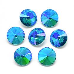 pointé cabochons en strass de verre, rivoli strass, Retour plaqué, facettes, ab couleur plaquée, cône, deepskyblue, 14x6.5 mm(RGLA-T021-14mm-05)