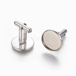 304 boutons de manchette en acier inoxydable, plat rond, couleur inoxydable, plateau: 16.5 mm; 26.5x17.5 mm(STAS-E471-03A-P)