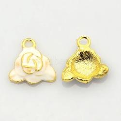 Ton or pendentifs émail d'alliage de fleurs, breloques rose, blanc, 16x16x4mm, Trou: 2mm(ENAM-J451-06G)