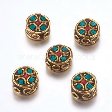 Handmade Indonesia Beads, with Brass Findings, Nickel Free, Flat Round, Raw(Unplated), Green, 12~13x6~7.5mm, Hole: 2mm(IPDL-F023-28A)