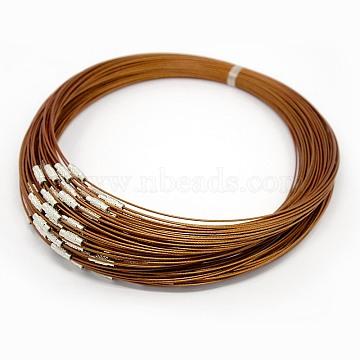 """Стальная проволока ожерелье шнура, хороший для DIY ювелирных изделий, с латунной застежкой винт, коралл, 17.5"""", 1 мм(X-TWIR-SW001-6-1)"""